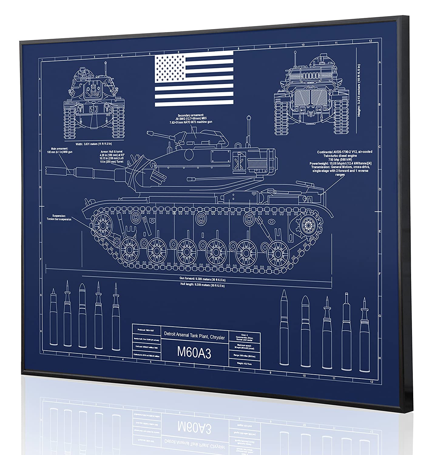 Amazon.com: M60A3 Patton Tank Blueprint Artwork-Laser Marked & Personalized-The Perfect Tanker Gifts: Handmade