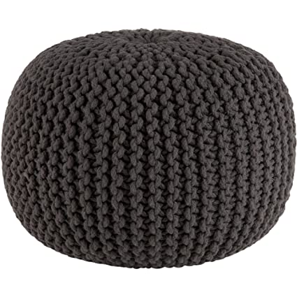 Amazon Cotton Craft Hand Knitted Cable Style Dori Pouf Grey Custom Knitted Poufs Ottomans