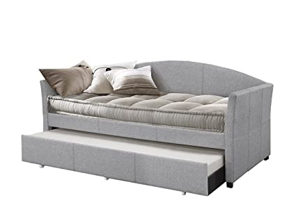 Beau Hillsdale Furniture 2019DBTG Hillsadle Westchester Daybed With Trundle,  Twin, Smoke Gray Fabric