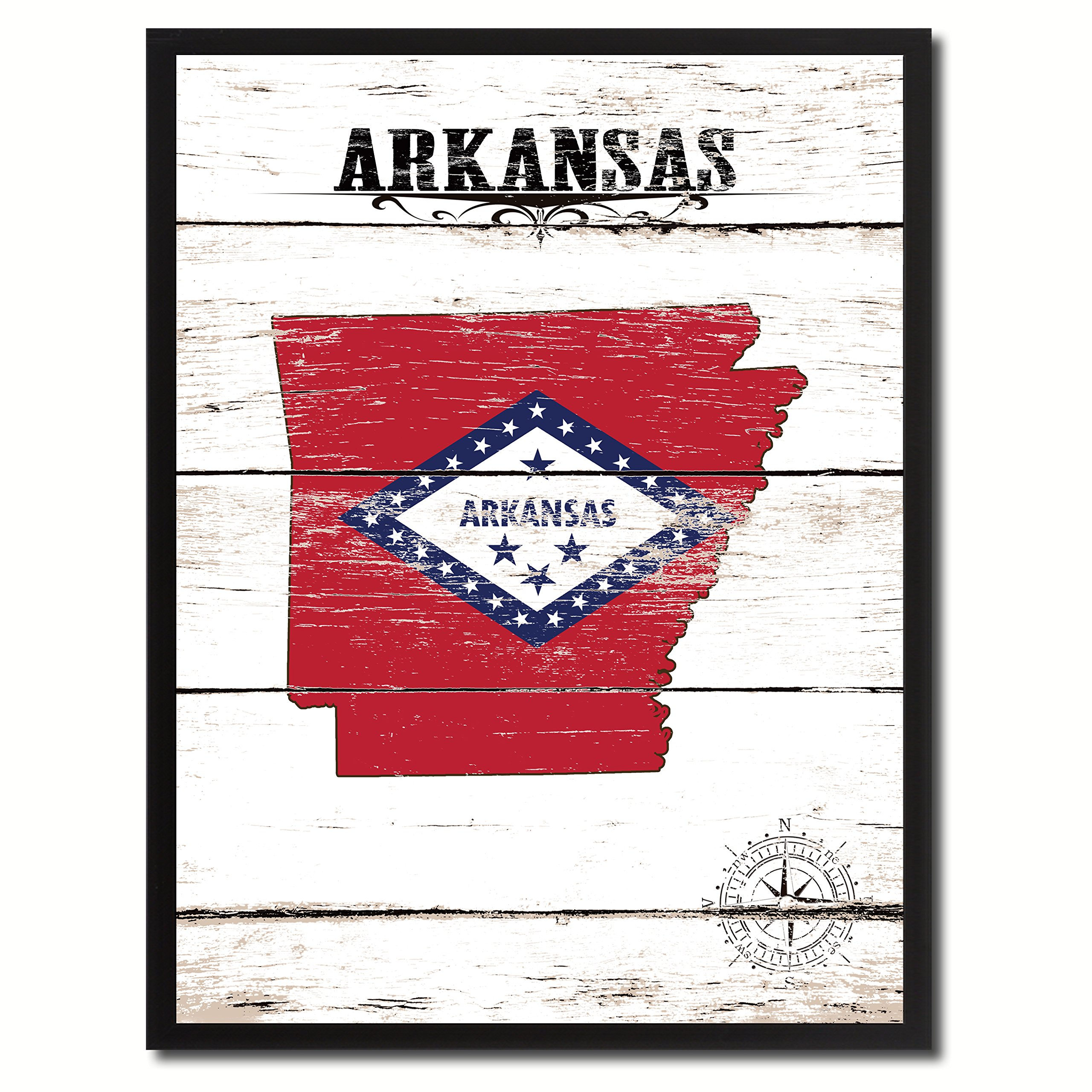 Arkansas State Flag Canvas Print, Black Picture Frame Gifts Home Decor Wall Art Decoration