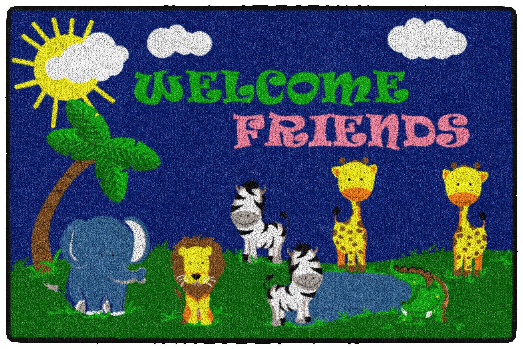 Flagship Carpets CE147-14W Welcome Mat - Friends Safari, Multi