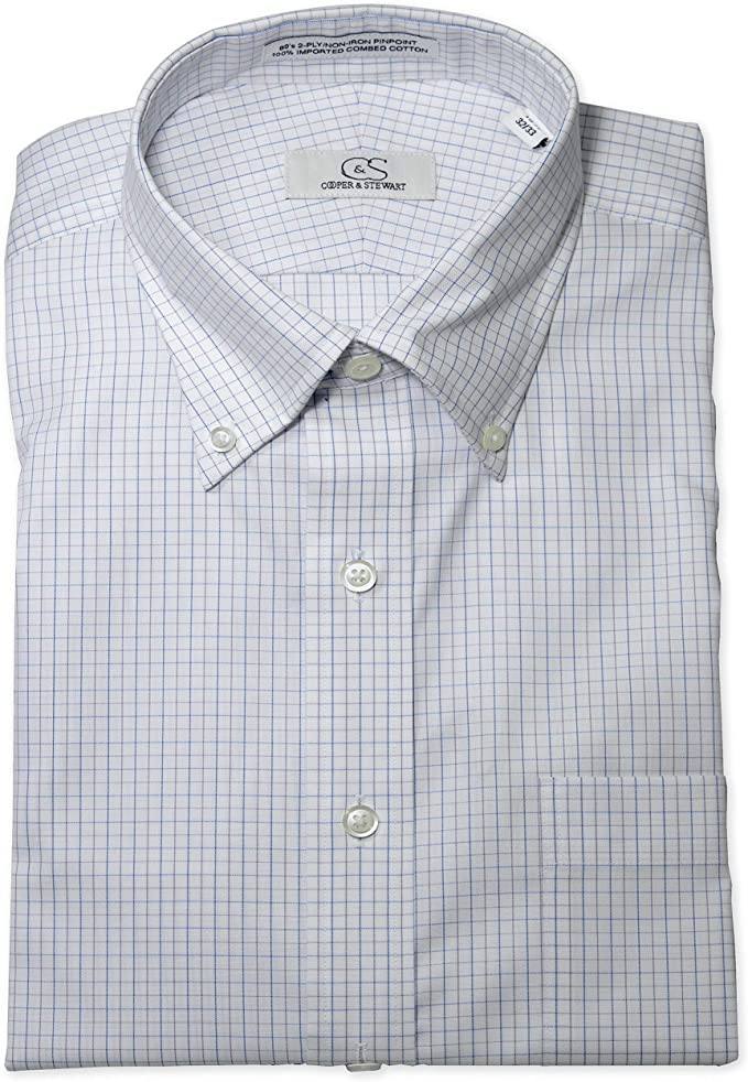 COOPER /& STEWART Classic Fit Non-Iron Tattersall Button-Down Collar Dress Shirt