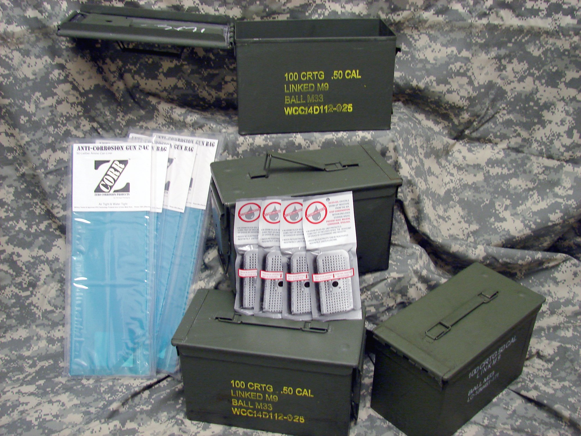 50 Cal Ammo Can Kit, 4 Pack, with ZCORR Ammo Can Liners & 40 gram Desicants by ZCORR; Hydrosorbent (Image #1)