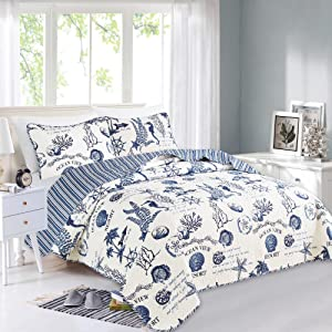Great Bay Home 3 Piece Quilt Set with Shams. Soft All-Season Microfiber Bedspread Featuring Attractive Seascape Images. Machine Washable. The Catalina Collection Brand. (King, Navy)
