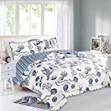 Great Bay Home 3 Piece Quilt Set with Shams. Soft All-Season Microfiber Bedspread Featuring Attractive Seascape Images…