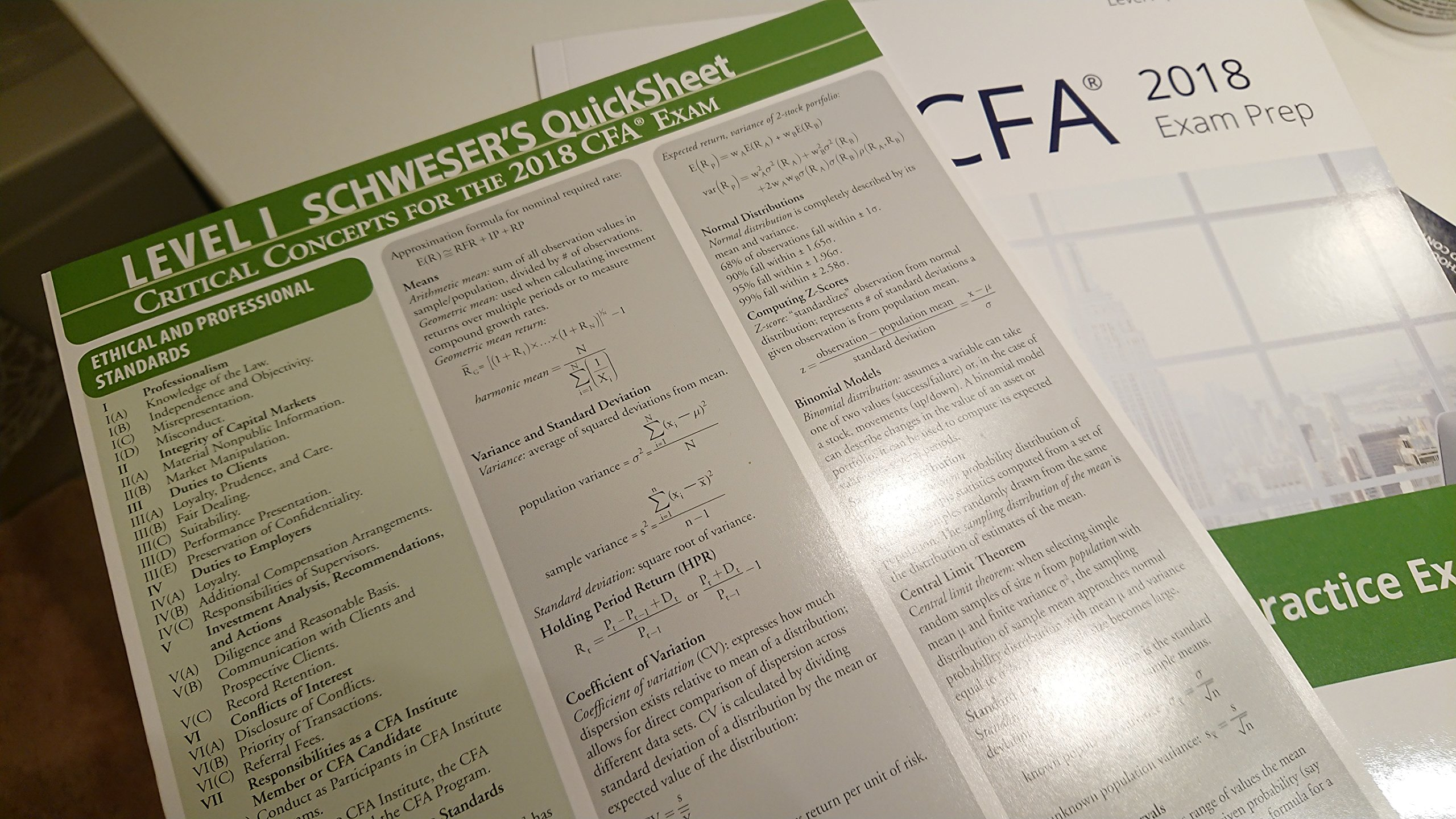 2018 CFA Level 1 Kaplan Schweser: Books 1-5, Practice Exam
