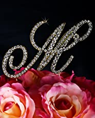 Unik Occasions Victorian Crystal Rhinestone Wedding Cake Topper, Small, Letter M, Gold