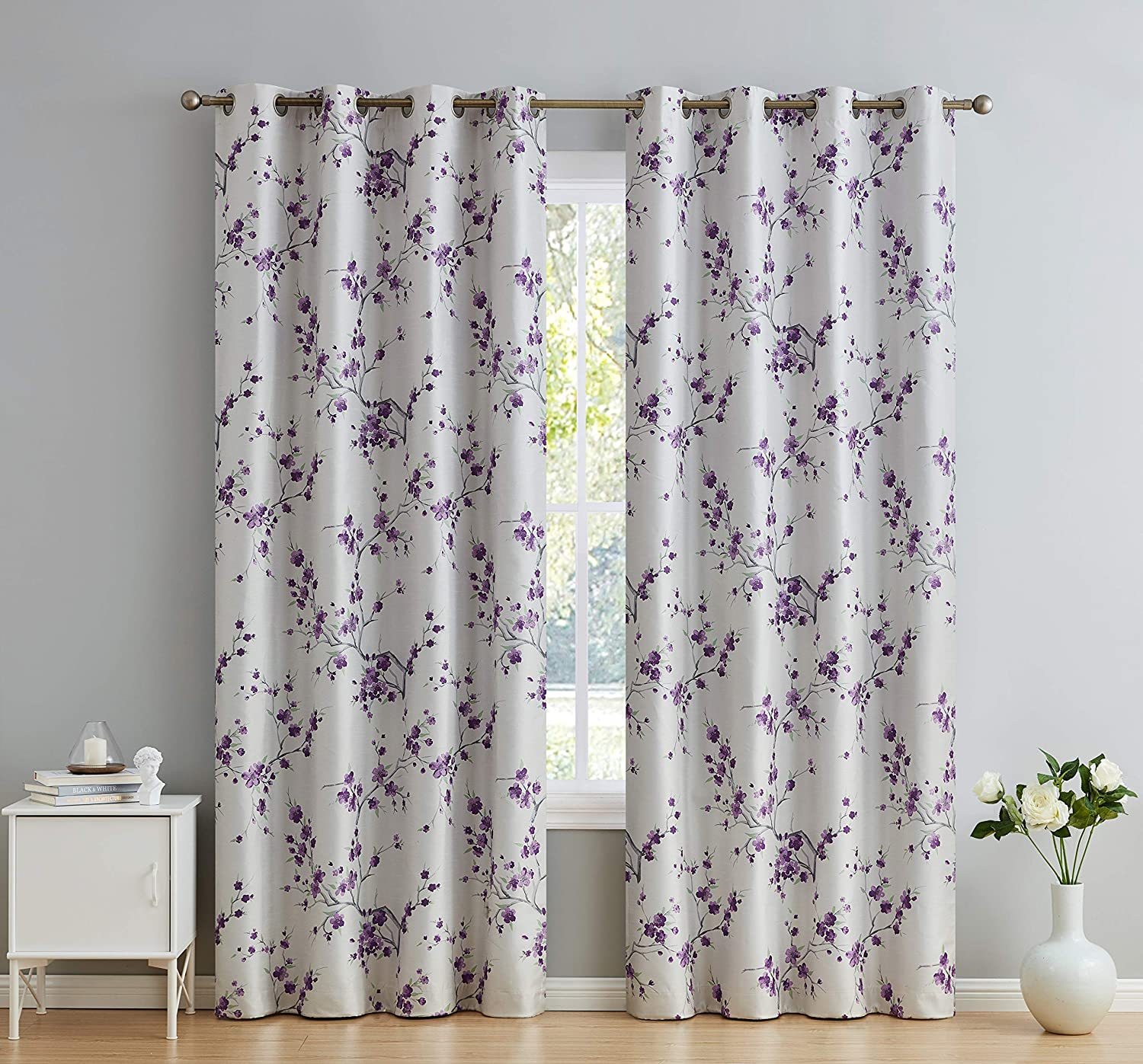 """HLC.ME Jasmine Floral Faux Silk 100% Blackout Room Darkening Thermal Insulated Curtain Grommet Panels For Bedroom -Energy Efficient, Complete Darkness, Noise Reducing- Set of 2 (Purple, 52"""" W x 63"""" L)"""