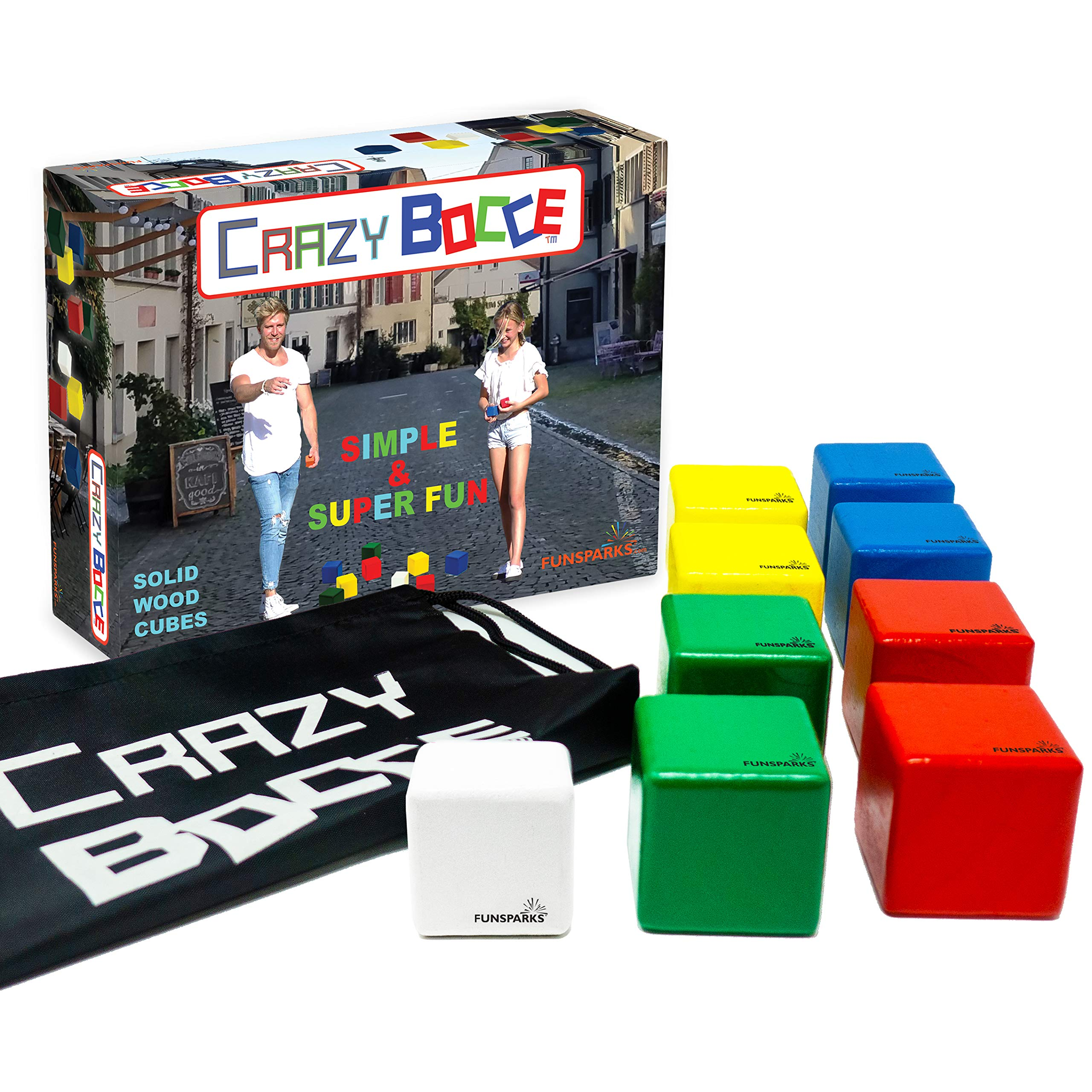 Funsparks Crazy Bocce Indoor, Outdoor Family Fun Street Bocce for Kids - Play on The Driveway, Park, Lawn or Just About Anywhere by Funsparks