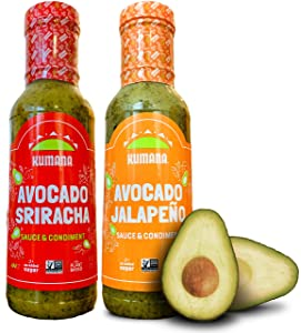 Kumana Avocado Hot Sauce. Jalapeño & Sriracha Two Pack. Made with ripe Hass Avocados & Chili Peppers. Keto & Paleo. Gluten Free, Non-GMO & Low Carb. 13 Oz. Each.