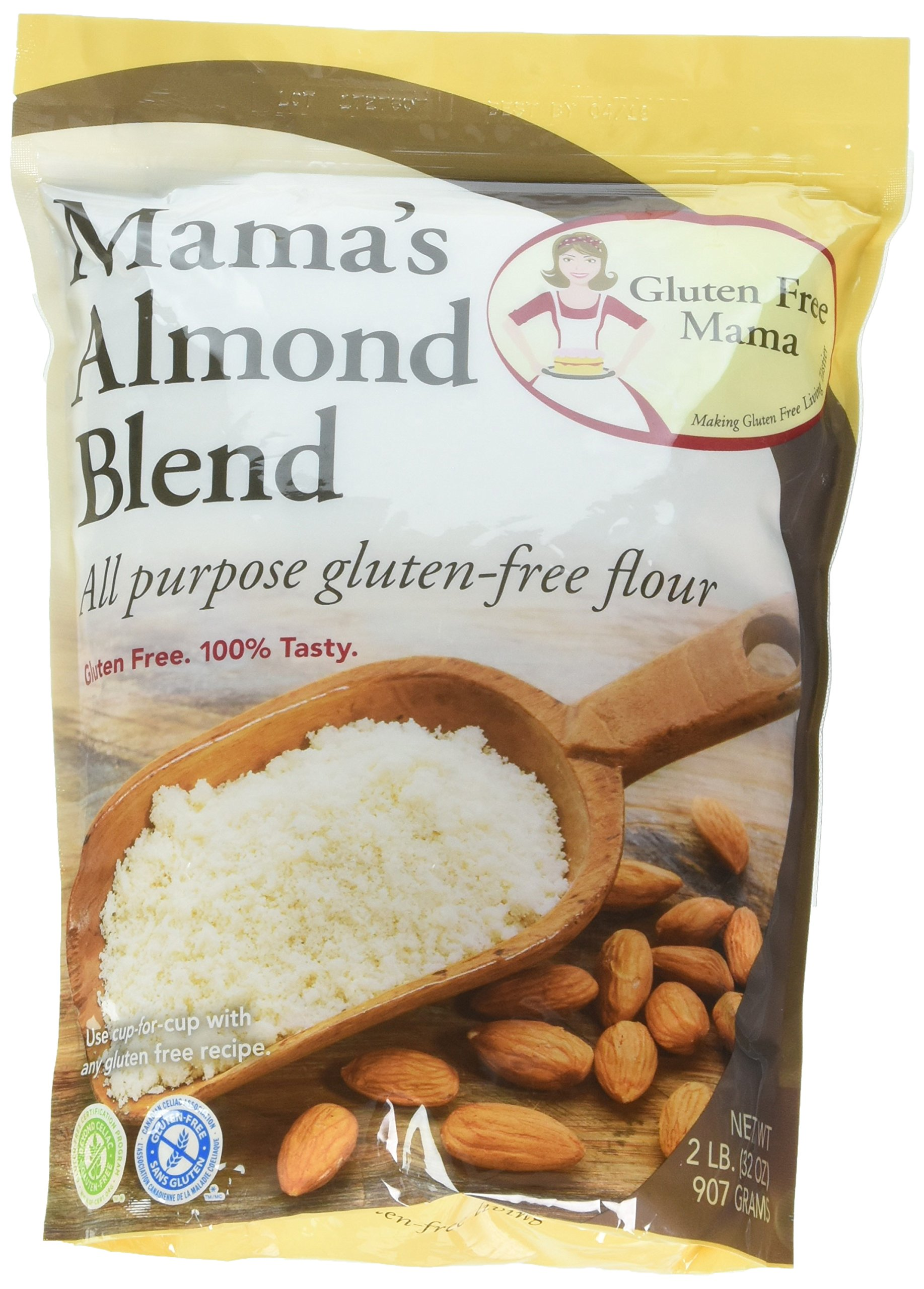 Gluten Free Mama's Almond Blend All Purpose Gluten-Free Flour 2 Packs 2 LB 100% Tasty Cup for Cup any Gluten free recipe. 100 Calories per serving