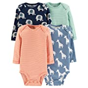 Carter's Baby Boys 4 Pack Bodysuit Set, Elephant/Giraffe, 9 Months