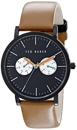 ed85f130c654 Image Unavailable. Image not available for. Color  Ted Baker Men s 10024530  Black Stainless Steel Watch with Brown Leather Band