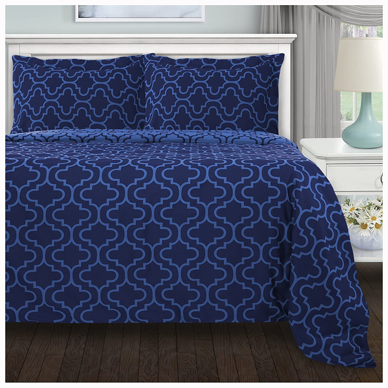 Full//Queen Grey Superior 100/% Brushed Cotton Flannel Trellis Bedding Reversible Duvet Cover Set