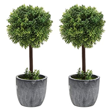 Set Of 2 Small Realistic Artificial Boxwood Topiary Trees / Faux Tabletop  Plants W/ Gray