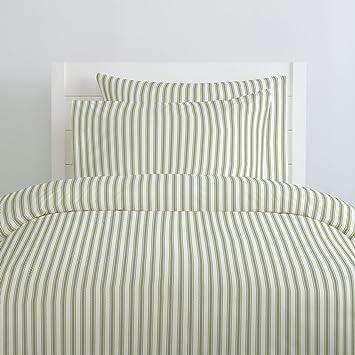 Carousel Designs Sage Ticking Stripe Duvet Cover Queen/Full Size   Organic  100% Cotton