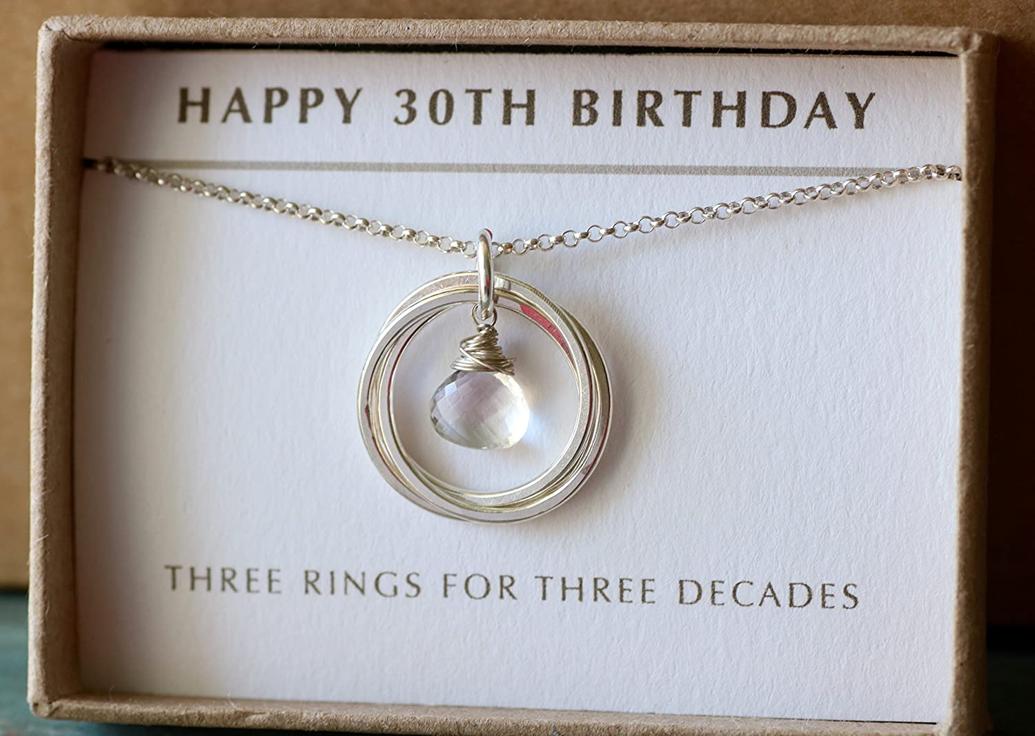 30th Birthday Gift For Daughter April Birthstone Jewellery Rock Crystal Necklace Sister Girlfriend