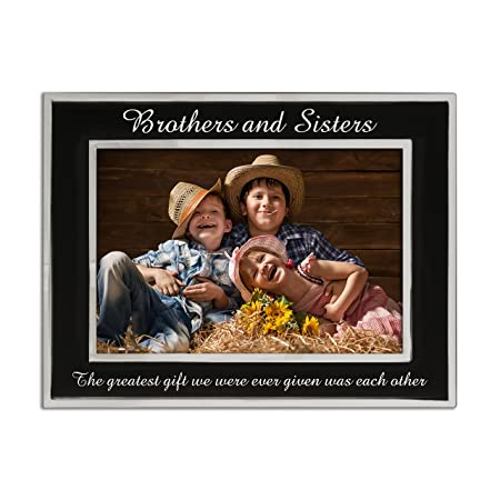 Brothers And Sisters Silver Plated Photo Frame Matt Black And