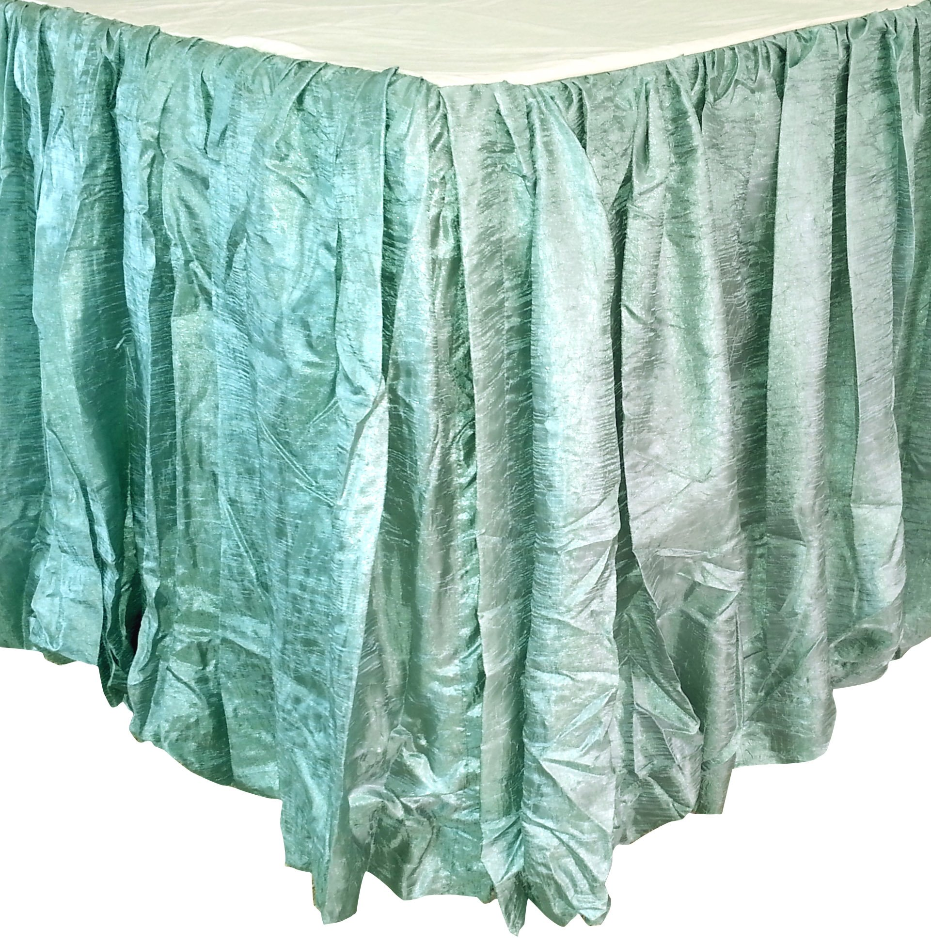 Edie 0725K21 Silkanza Balloon Decorative Bed Skirt, Seafoam, 78 x 80 x 21'' Drop