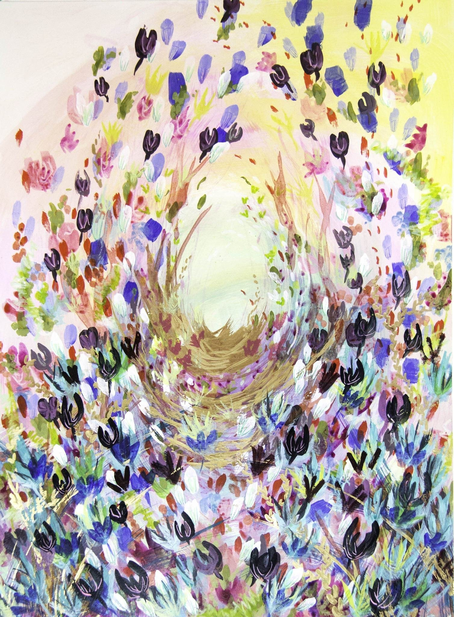HAPPY BRIGHT ABSTRACT BOTANICAL LANDSCAPE PRINT PRINTED ON PREMIUM 100% RAG (COTTON) WHITE 140LLB ARCHIVAL PAPER