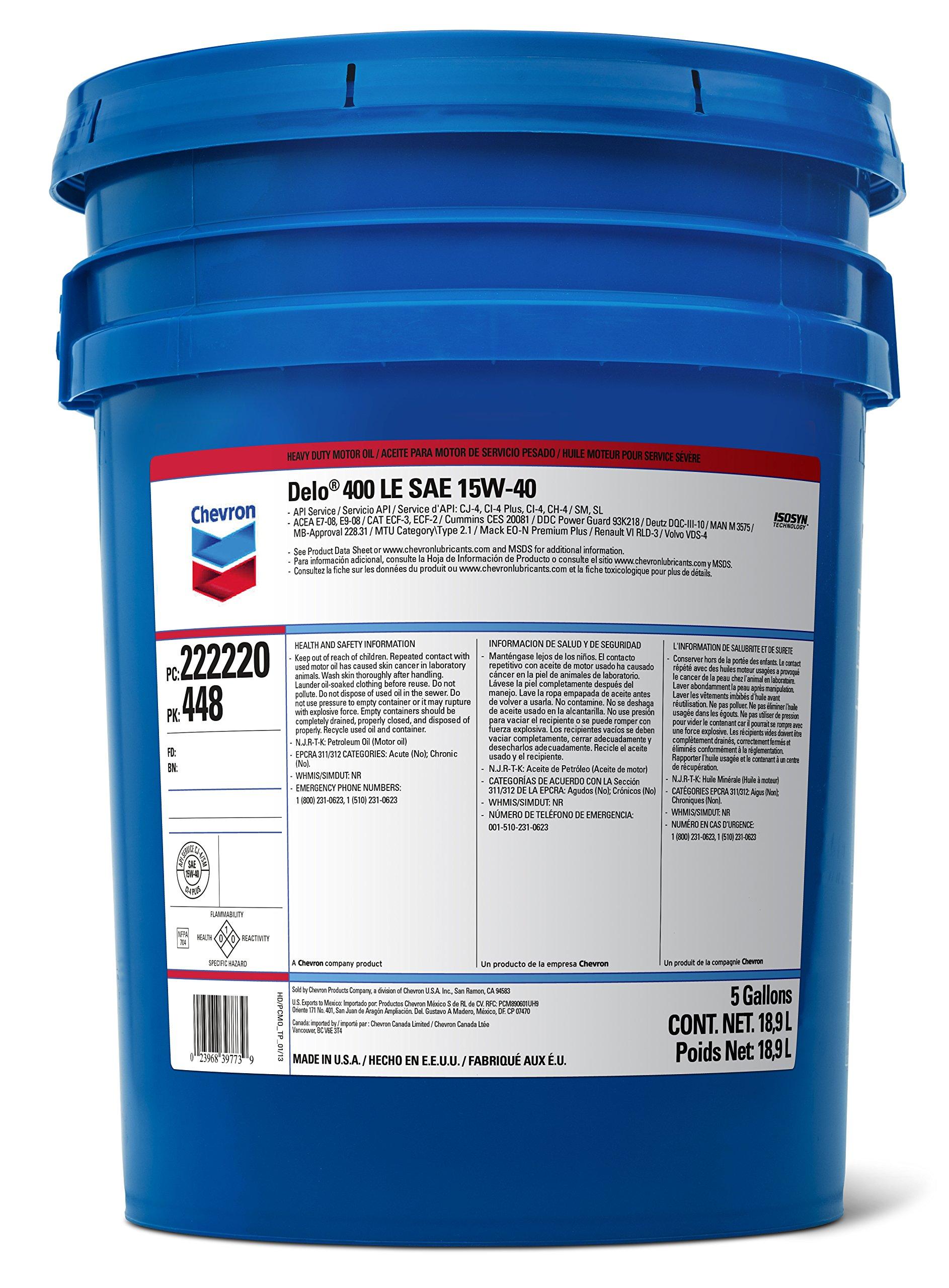Delo 400 SDE SAE 15W-40 Motor Oil - 5 Gallon Pail by Delo