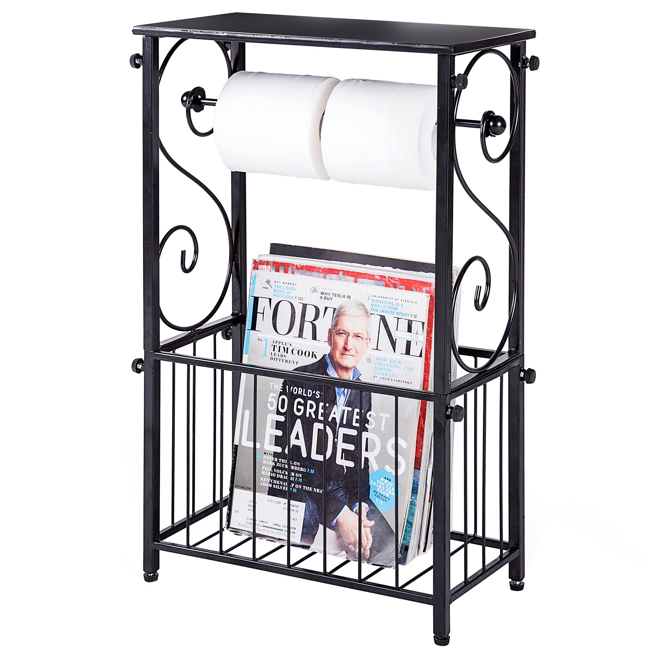 Metal Scroll Design Bathroom Storage Table Shelf with Toilet Paper Dispenser and Magazine Basket
