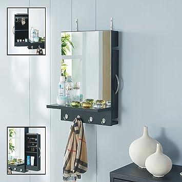 Danya B Black Cabinet Mirror with Hidden Sliding Jewelry Door and Hanging  Hooks. Amazon com  Danya B Black Cabinet Mirror with Hidden Sliding