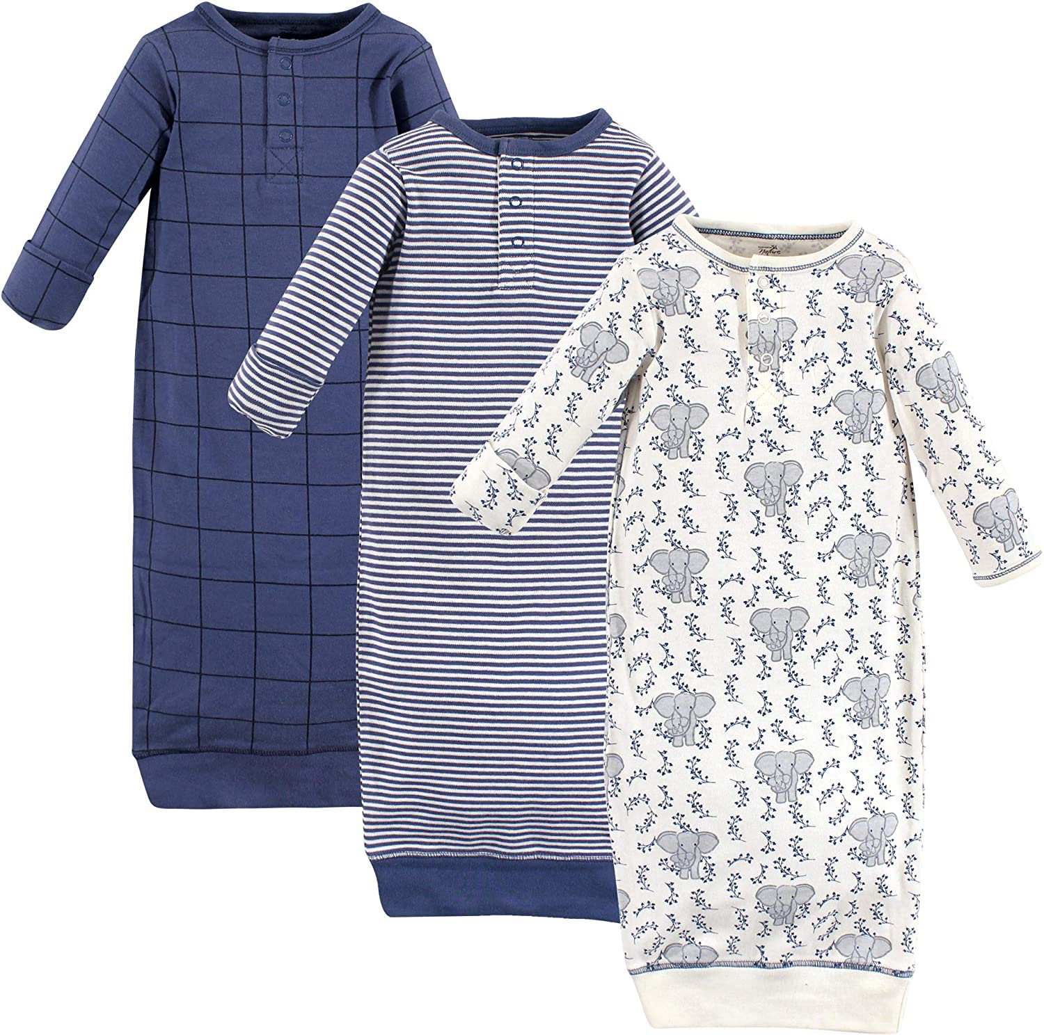 Touched by Nature Baby Organic Henley Gowns 3pk Elephant