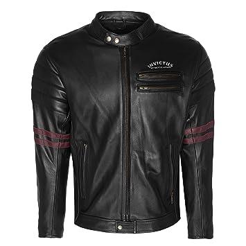 Chaqueta de Cuero de Moto Estilo Vintage Cafe Racer Invictus Hades (M): Amazon.es: Coche y moto