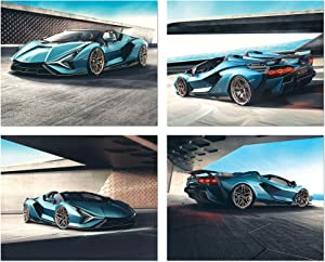 Lamborghini Sian Car Poster Prints - Set of 4 Unframed (10 inches x 8 inches) Sports Car Decor - Sian - Perfect Wall Art Gift Car Poster for Men Boys Teen Bedroom Decor, Office - Set 4