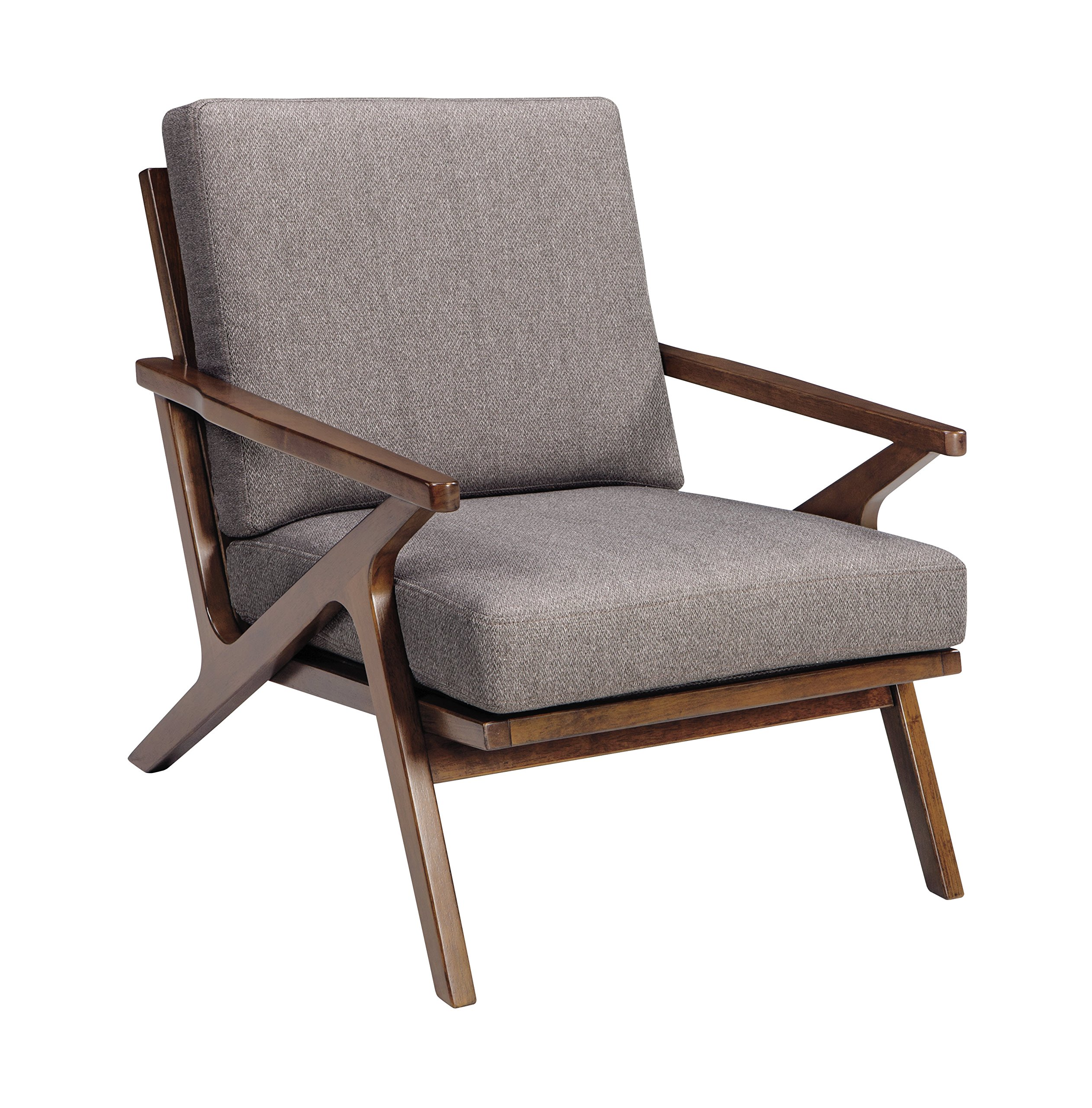 Ashley Furniture Signature Design - Wavecove Accent Chair - Mid Century Modern - Brown Maple-Tone Finish - Beige Linen-Weave Loose Cushion - Ashley Casual Wood Chair In Brown Finish A3000032 - living-room-furniture, living-room, accent-chairs - 91lobduWCnL -