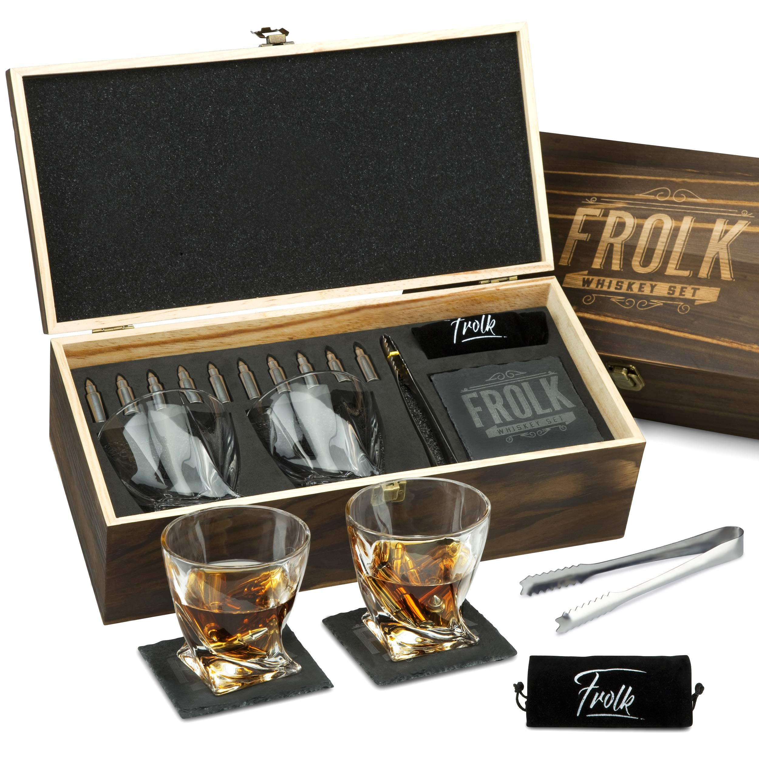 Premium Bullet Shaped Whiskey Stones Gift Set for Men - 10 Bullets Chilling Stainless-Steel Whiskey Rocks - 11 oz 2 Large Twisted Whiskey Glasses, Slate Coasters, Tongs - Premium Set in Pine Wood Box