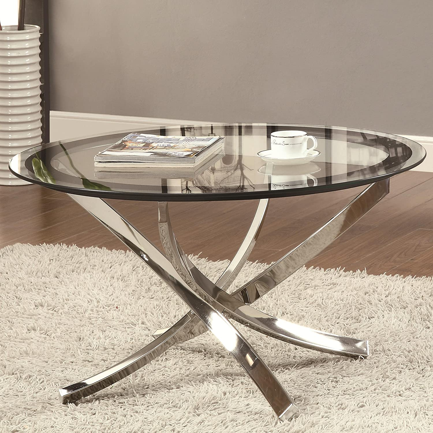 Contemporary Coffee Table Round Glass Modern Furniture Tables