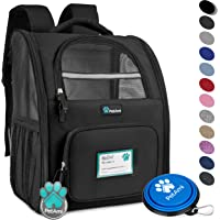 PetAmi Deluxe Pet Carrier Backpack for Small Cats and Dogs, Puppies | Ventilated Design, Two-Sided Entry, Safety Features and Cushion Back Support | for Travel, Hiking, Outdoor Use (Black)
