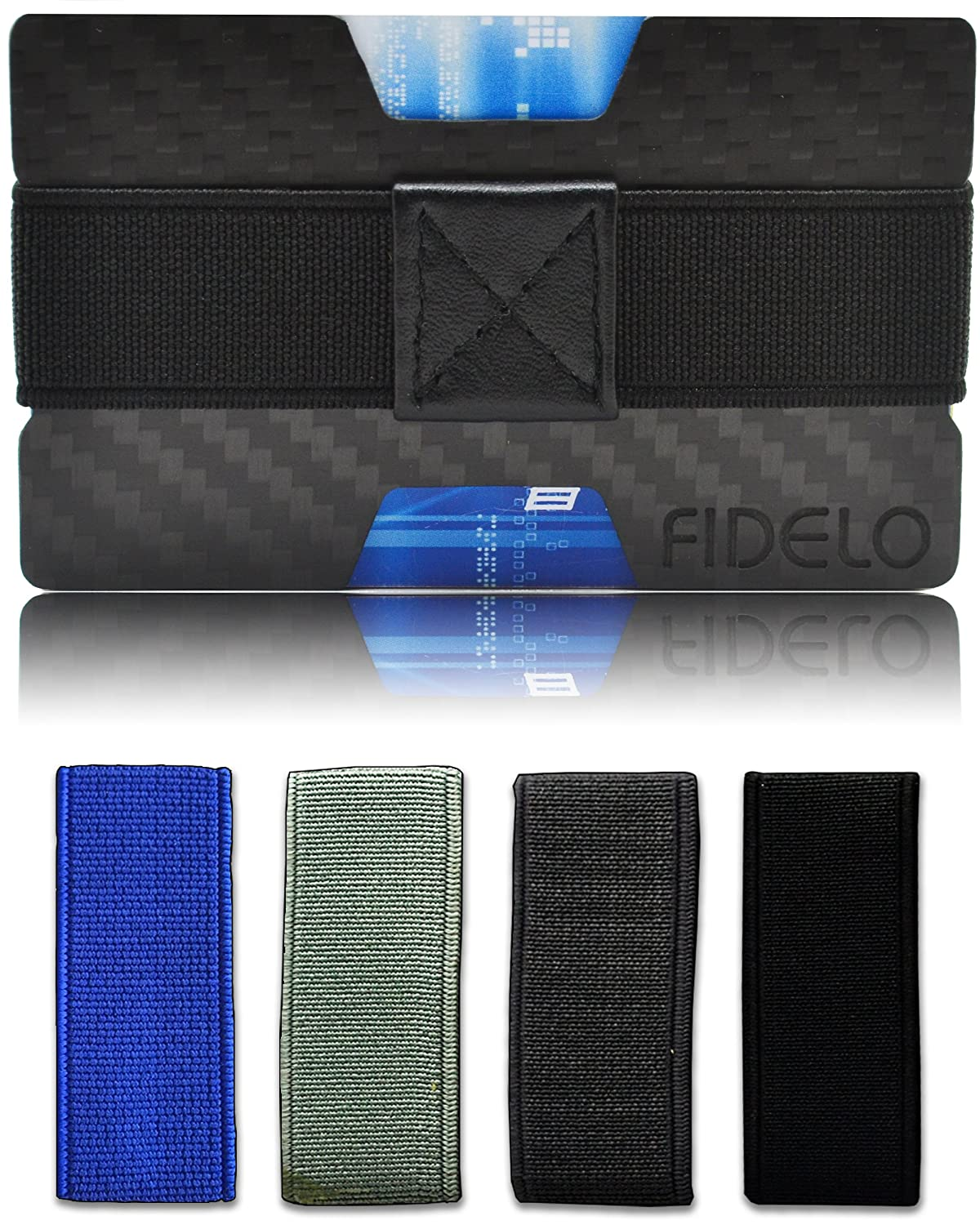 Carbon Fiber Wallet RFID - Small Slim Front Pocket Wallets for Men & Money Clip FIDELO Minimalist X Mens Wallets