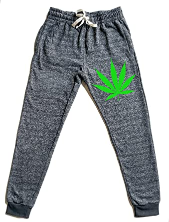 Men's Weed Leaf V360 Graphic Snow Fleece Jogger Sweatpants Small Black