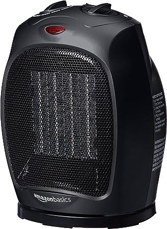 Opinión sobre AmazonBasics - Calefactor de cerámica oscilante, 1500 W, con termostato ajustable, Negro