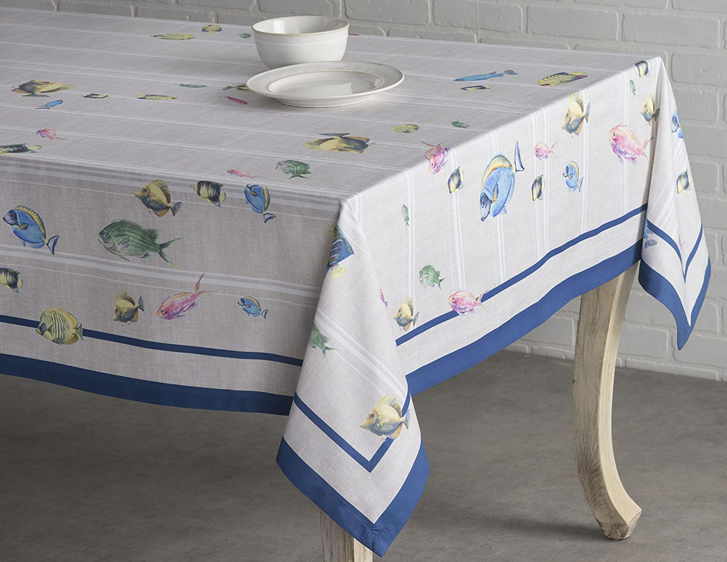Maison d Hermine Poisson 100/% Cotton Tablecloth 54 Inch by 54 Inch
