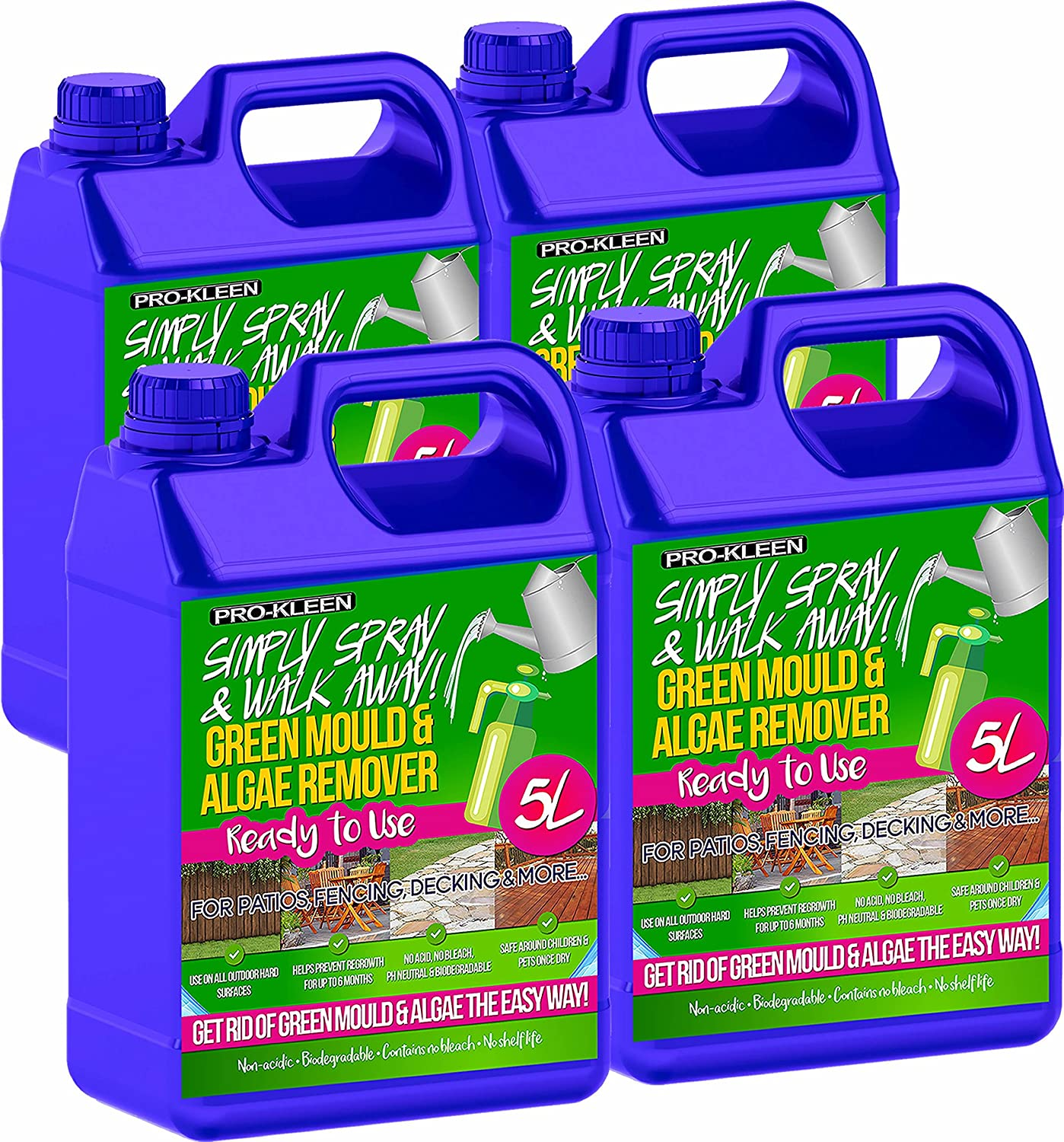 Pro-Kleen Ready to Use Simply Spray & Walk Away (4 x 5 Litres) Green Mould & Algae Remover for Patio, Fencing, Decking and more!