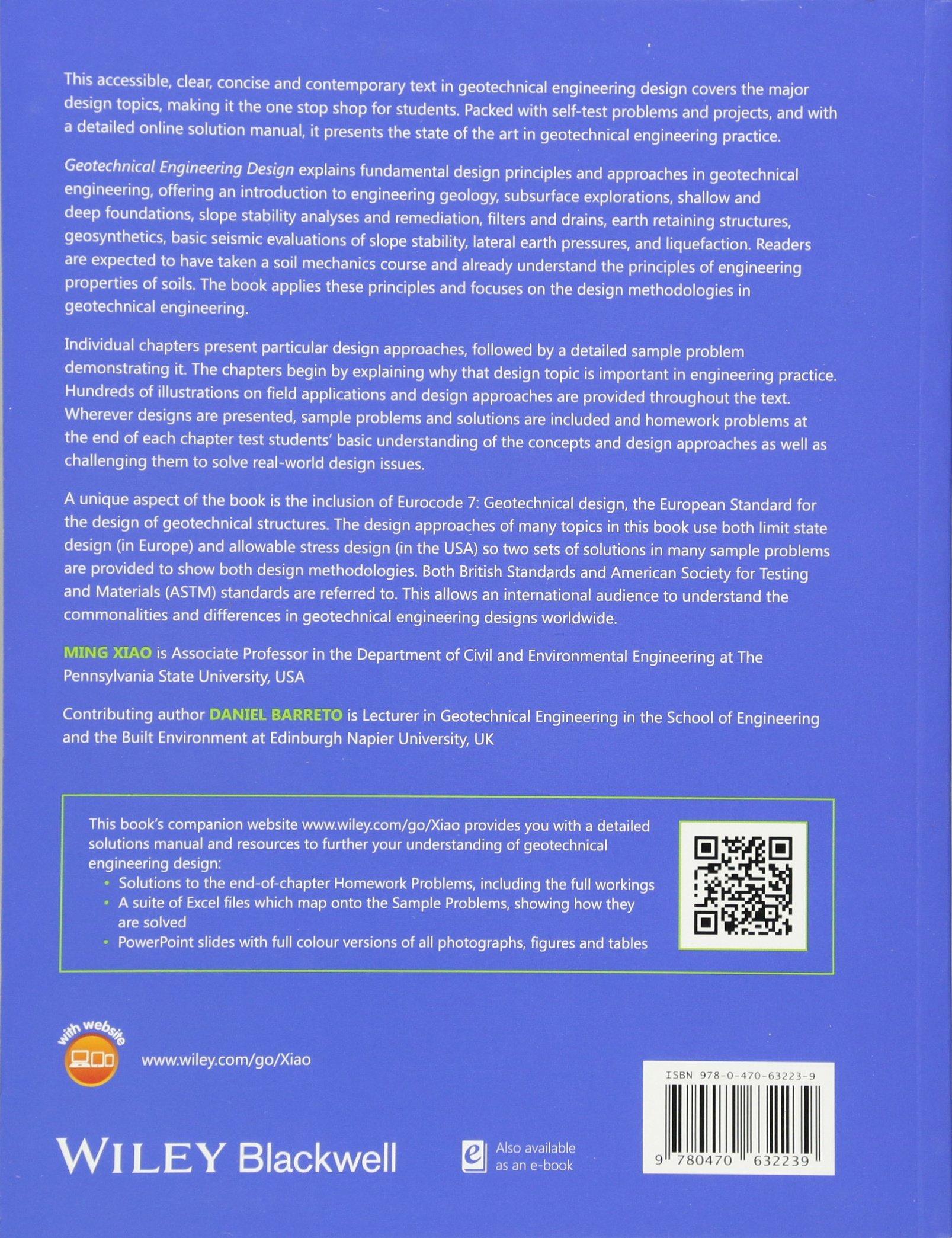 Geotechnical Engineering Design: Amazon co uk: Ming Xiao