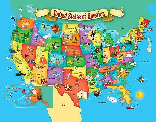 Amazoncom MasterPieces Explorer Kids USA Map Piece Kids - Us map cartoon