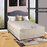"Continental Sleep 10"" Pillowtop Fully Assembled Othopedic Queen Mattress & 8"" Split Box Spring with Bed Frame,Deluxe Collection"