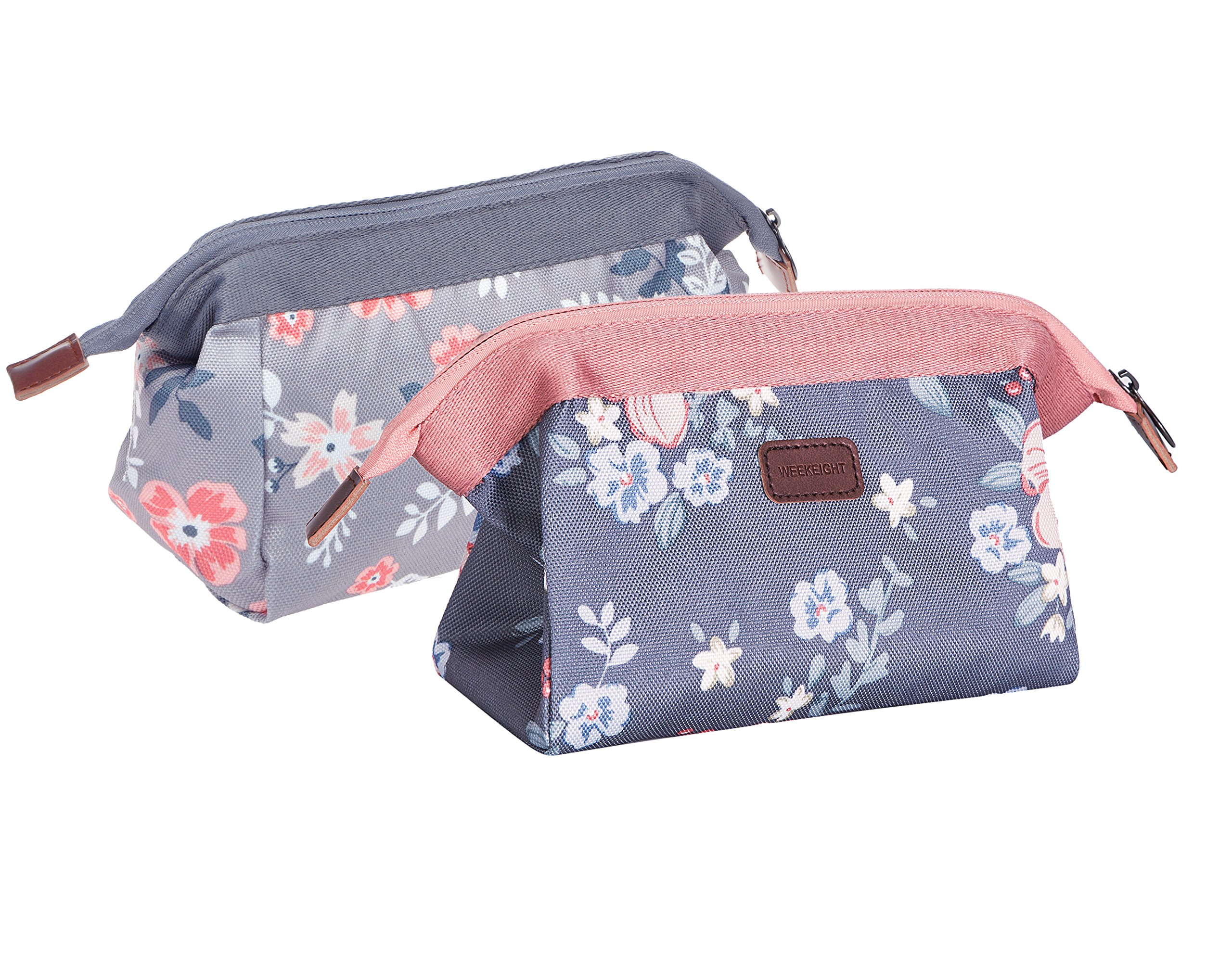 BAGOOE Handy Travel Cosmetic Makeup Clutch Bag Case Pouch Nylon Zipper Carry On Bag Various Colors For Women Men Girls,Set2#Flower