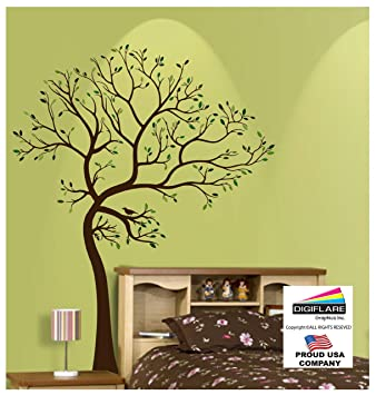 Ft Tree Brown  Green With Bird Wall Decal Deco Art Sticker Mural - Wall decals birds
