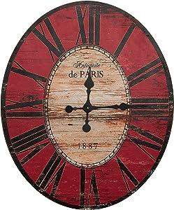 Creative Co-op EC0129 Distressed Wood Wall Clock, 29