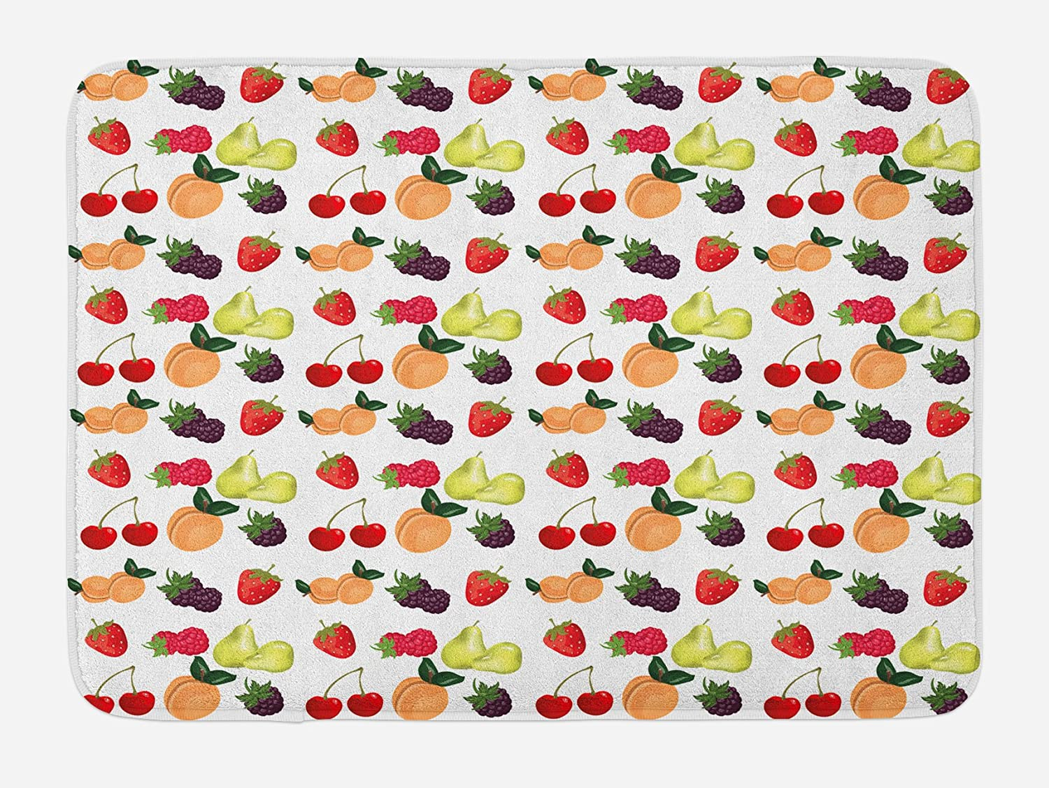 Kitchen Bath Mat Cherry Fruit Pattern Non-Slip Plush Mat 29.5 X 17.5 Inches
