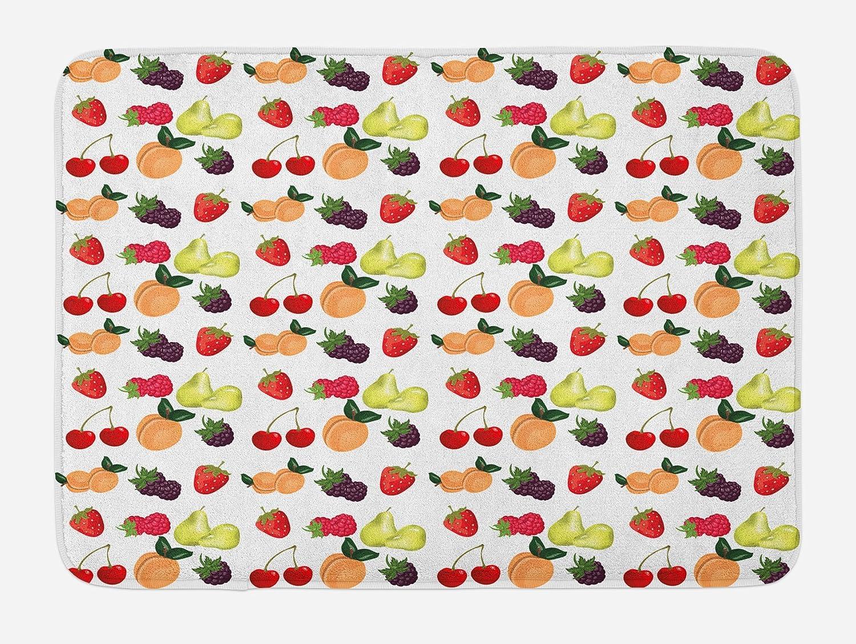 Kitchen Bath Mat Cherry Fruit Pattern Non-Slip Plush Mat 29.5 X 17.5 Inches