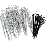 Stepton 100-Pack Galvanised Garden Pegs / Securing Lawn Staples / U Pins / Weed Fabric Stakes 150mm/6-Inches 11-Gauge Complete with Bonus 50 Cable Ties