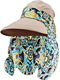 Hestya 1 Pack Protection Summer Sun Hats Wide Brim Cap Sun Visor Hats with Neck Protector for Women and Ladies