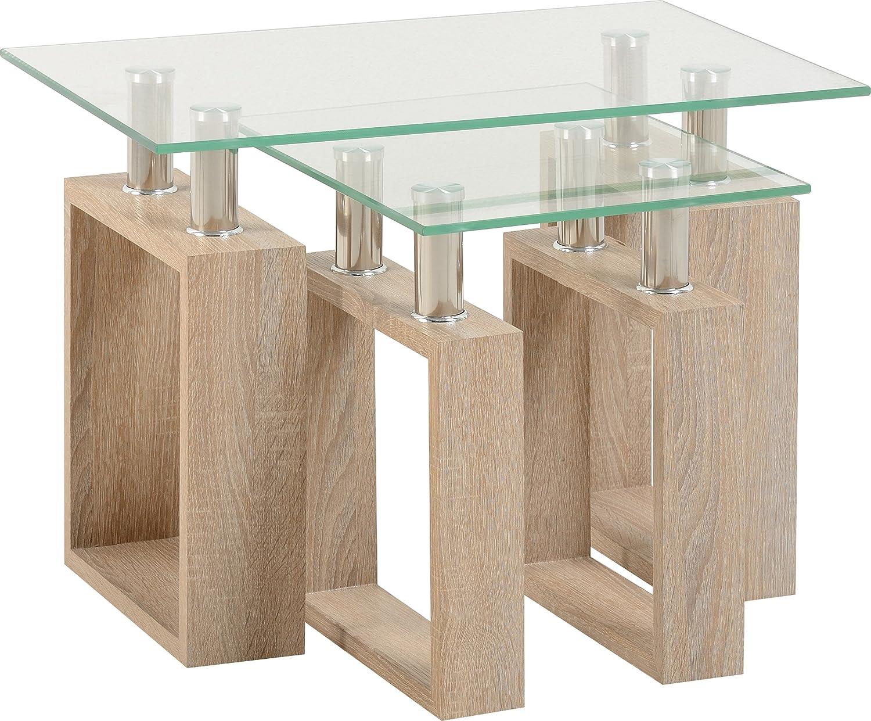 Seconique Milan Nest of Tables, Sonoma Oak Effect/Clear Glass/Silver, 434.95x659.95x64.95 cm 300-303-018